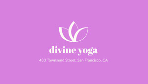 Pink Yoga Studio Business Card with Lotus Logo Biglietto da visita