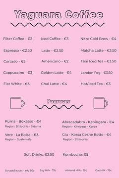 coffee menu Cafe