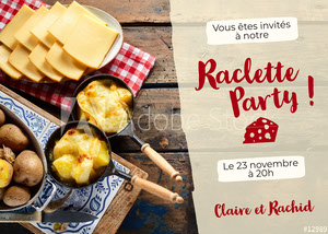 Blue Gradient Dark Brown Wood Raclette Invitation Card Invitation à une fête