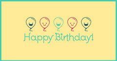 Yellow Happy Birthday Facebook Post Graphic with Balloons Balloon
