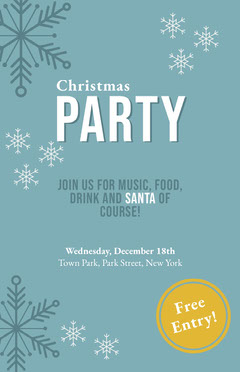 Blue, White and Yellow Christmas Party Invitation Card Christmas Invitation