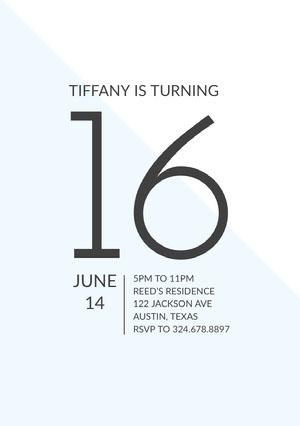 Gray and White Sweet Sixteen Birthday Invitation Card Sweet 16 Invitation