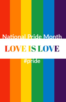 National Pride Month Poster with Rainbow Poster