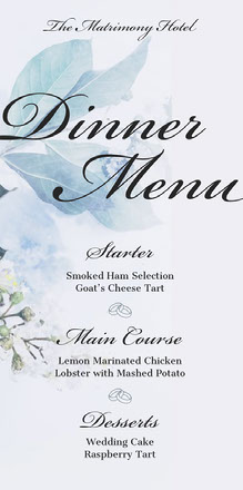 Blue Floral Calligraphy Wedding Menu Menu bruiloft