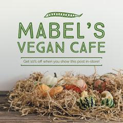 Green Vegan Cafe Instagram Square Ad with Pumpkins Vegan