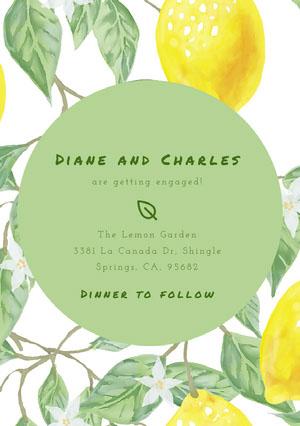 Yellow Green and White Engagement Invitation Einladung zur Verlobung