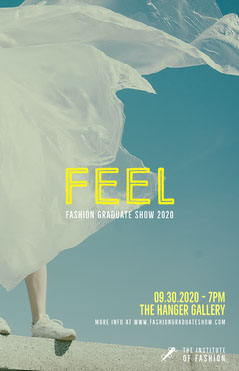 blue yellow fashion graduate show poster  Fashion Show