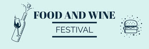 Black and Blue Food and Wine Festival Banner Cartel de Festival de Música