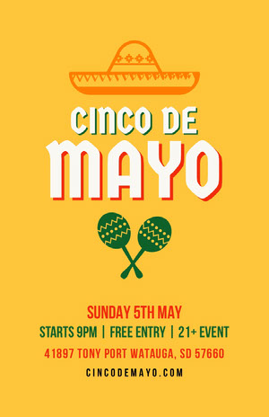 Yellow and White Cinco de Mayo Flyer Event Poster