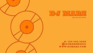 Orange Simple DJ Business Card Copy Business Card