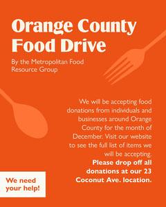 Orange Simple Modern Orange Food Drive Announcement Food Flyer