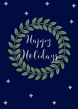 Green and Navy Wreath Happy Holidays Card Christmas Card
