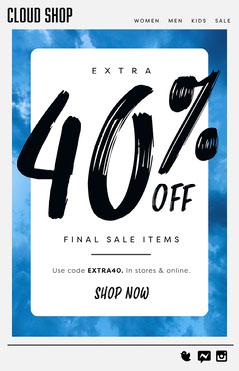 Blue Sky Clouds Sale Newsletter Sky