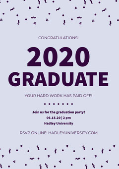 Blue Graduation Party Announcement Card with Confetti Confetti