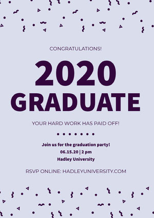 Blue Graduation Party Announcement Card with Confetti Graduation Announcement