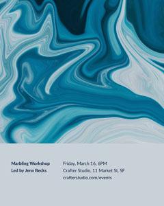Blue Marbling Workshop Event Flyer Workshop