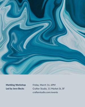 Blue Marbling Workshop Event Flyer Event Poster