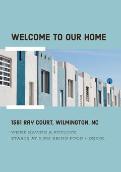 Blue and White Housewarming Party Invitation Welcome Poster