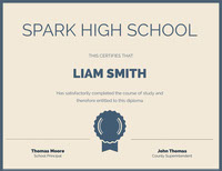 Blue and Beige Spark High School Certificate 상장