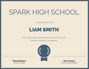 Blue and Beige Spark High School Certificate Certificat