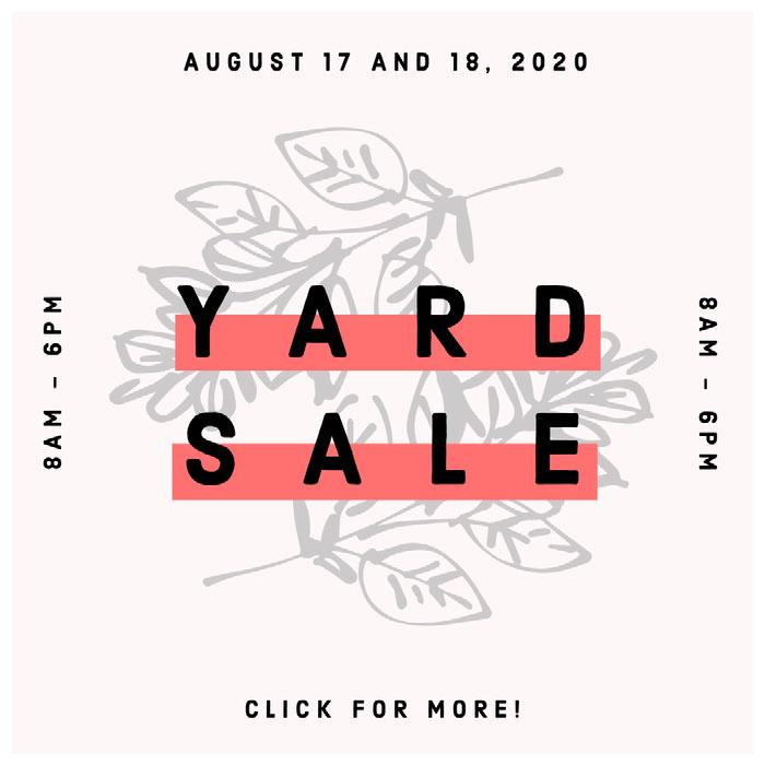 YARD<BR>SALE Yard Sale Sign