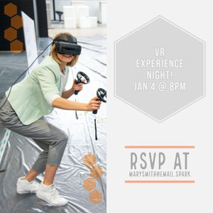 VR Party Invitation Card with Woman Cartazes de jogos