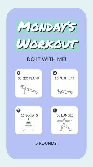 Blue Purple Pastel Workout Schedule Instagram Story Workout Plan