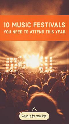 Orange Best Music Festivals Instagram Story with Crowd Photo Instagram Story