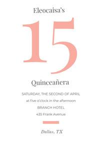 Orange Quinceanera Birthday Invitation Card compleanno