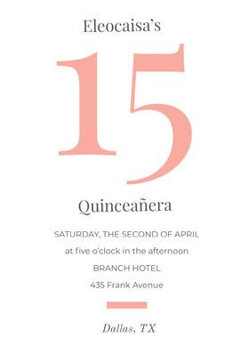 Orange Quinceanera Birthday Invitation Card Birthday Invitation (Girl)