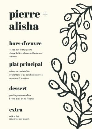 leafy wedding menu  Menu