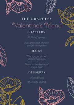 Rustic floral valentines dinner menu Dinner Menu