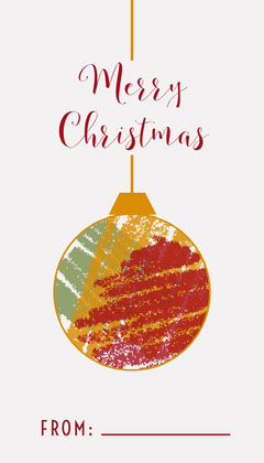 White and Red Bauble Gift Tag Gift Card