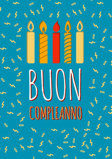birthday candles and confetti birthday cards Biglietto di compleanno