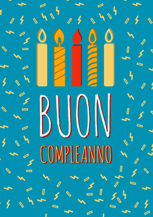birthday candles and confetti birthday cards Biglietto elettronico