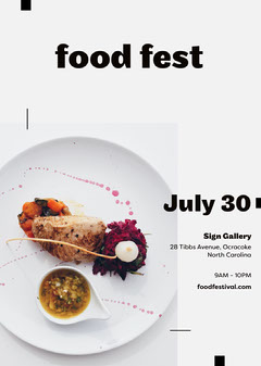 White and Black, Light Toned, Food Festival Ad, Flyer Food Flyer