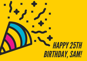 Yellow, Blue and Pink  Birthday Whishes Card Pink Flyers