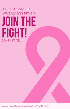 Pink Breast Cancer Awareness Month Poster with Ribbon Awareness