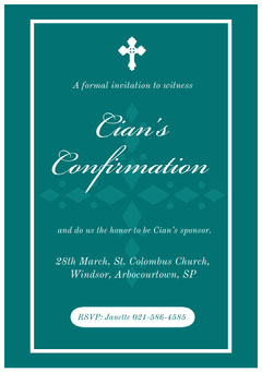 Green and White, Light Toned, Elegant, Confirmation Invitation Card Christianity
