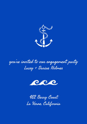 Blue and White Engagement Party Invitation Bekendtgørelse af forlovelse