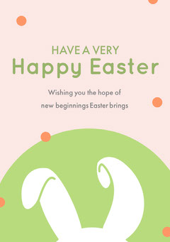 White and Green Happy Easter Bunny Ears Card Earth
