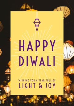Yellow and Purple, Light Toned Diwali Wishes Card Festival