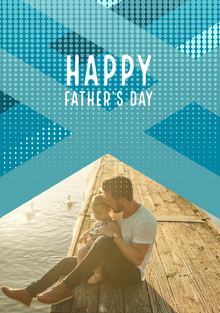 Blue With Photo Happy Father's Day Card Carte de Fête des pères