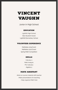 Black and White Professional Resume Curriculum scuola superiore