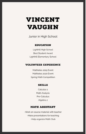 Black and White Professional Resume High School Resume