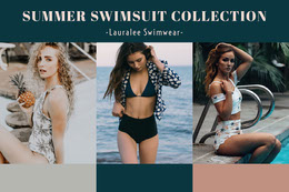 Summer Swimsuit Collection Mood Board with Fashion Models Collage di foto