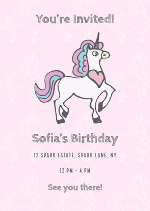 Pink Unicorn Birthday Invitation Unicorn Birthday Card