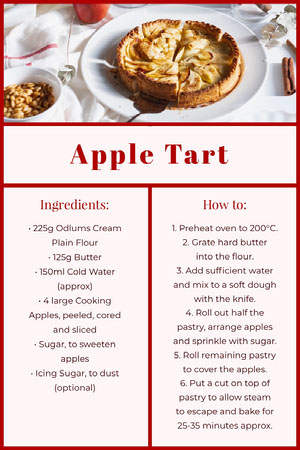 apple tart recipe card  Recipes