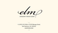 Black and White French Restaurant Business Card Food