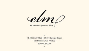 Black and White French Restaurant Business Card Carte de visite